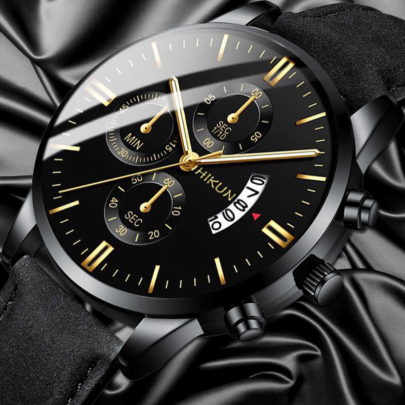 Reloj Hombre Luxury Mens Fashion Olahraga Jam Tangan Paduan Case Leather Band Watch Kuarsa Bisnis Arloji Jam Kalender