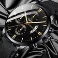 Reloj hombre  Роскошные мужские часы  модные спортивные наручные часы  чехол из сплава  кожаный ремешок  часы  кварцевые  деловые наручные часы  ча...