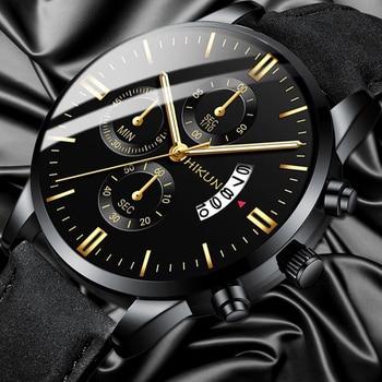 reloj hombre Luxury Mens Watch Fashion Sport Wrist Watch Alloy Case Leather Band Watch Quartz Business Wristwatch calendar Clock bee do kids quartz watch leather band wristwatch