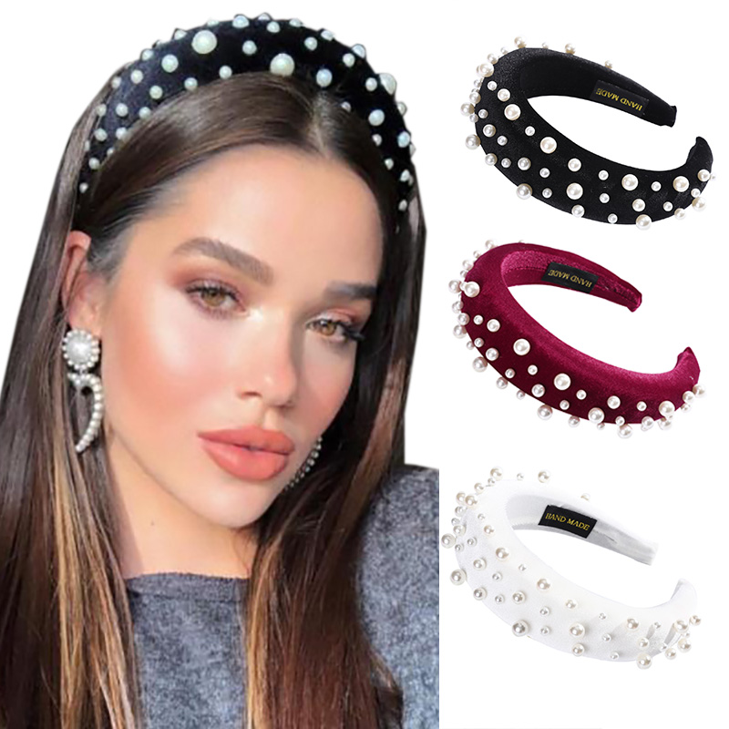 Haimeikang Fashion 2019 Pearls  Hairband Headband For Women Elegant Hair Band Padded  Hair Winter Accessories