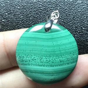 Image 4 - 24x6mm doğal yeşil malakit kolye kolye kadın için bayan erkek kristal 925 gümüş yuvarlak boncuk taş kolye takı AAAAA