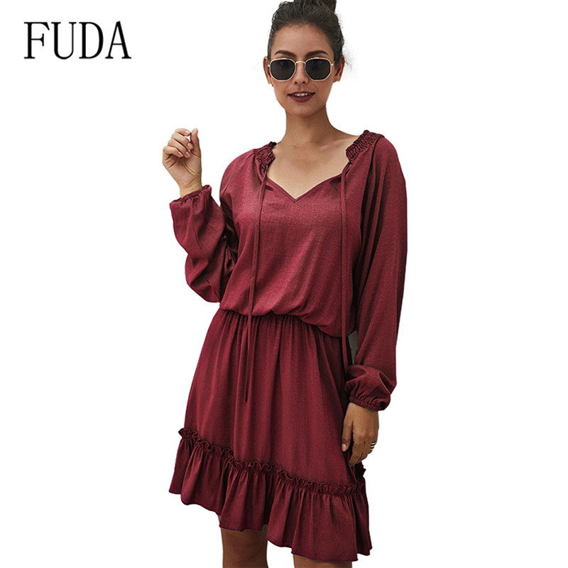 FUDA Summer Woman Casual Ruffles Decoration Long Sleeve Ladies Hollow Out Mini Dress Elegant Fashion Korean Vestidos Festa Dress in Dresses from Women 39 s Clothing