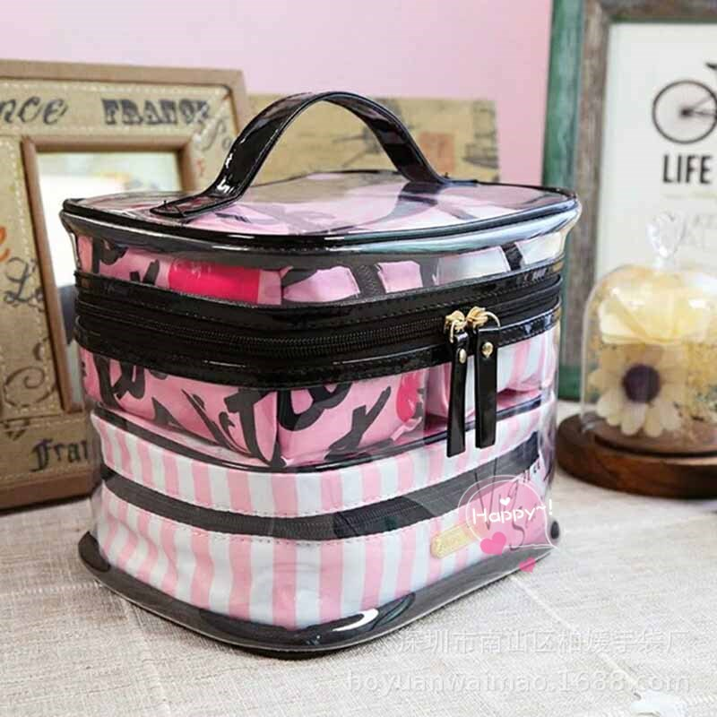Travel Hawaiian Flower Makeup Bag Lady Girl Cosmetic Bag Makeup Beauty Washing Storage Bag Cosmetic Bag Storage Bag Bathroom Set