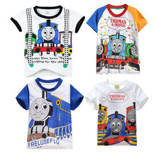 Thomas e amigos roupas infantis de algodão de tamanho médio e pequeno para crianças moda de manga curta camiseta roupas dos desenhos animados