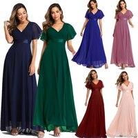 Evening Dresses XUCTHHC Elegant V-Neck Ruffles Chiffon Formal Evening Gown Robe Vestidos De fiesta Dress for Wedding Party 1