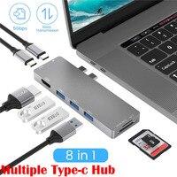 8 in 1 Laptop Docking Station Typ C Mehrere Hub Adapter 4K HDMI USB 3.0 RJ4 TF SD Kartenleser PD USB C Schnelle Daten Transfer Sync-in Laptop-Docking-Stationen aus Computer und Büro bei