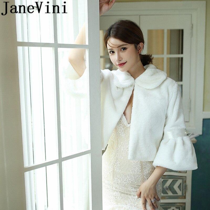 JaneVini 2020 Womens Faux Fur Bridal Coat Wraps Cape White Light Champagne Jackets Shrugs Bride Winter Party Rabbit Fur Capes