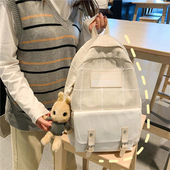 Splice Plaid Fashion Women Backpack for Girl School Bag Teenage Middle High Schoolbag Teen College Bookbag Female Youth Bagpack