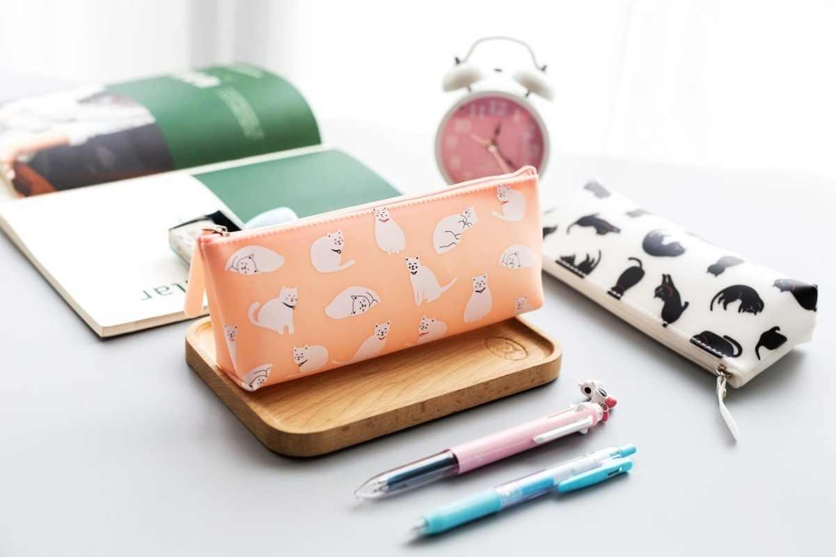 1 adet jöle kedi silikon kalem kutusu kalem çantaları dayanıklı büyük kapasiteli okul malzemeleri kırtasiye kalem depolama