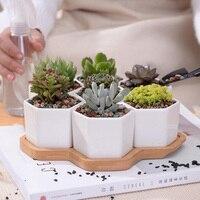 Set of 7 Hexagon Flowerpots White Ceramic Succulent Plant Pot with Bamboo Stand Home Decor Bonsai Planters