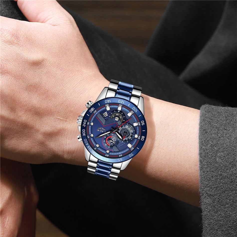 Relogio Masculino LIGE Hot Fashion Mens Watches Top Brand Luxury Wrist Watch Quartz Clock Blue Watch Men Waterproof Chronograph 3