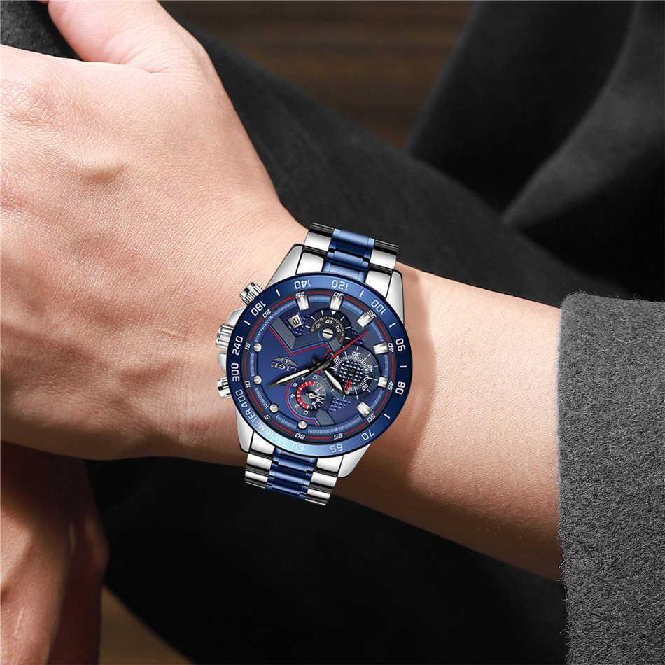 Relogio Masculino LIGE Hot moda męskie zegarki Top marka luksusowy zegarek kwarcowy zegar niebieski zegarek mężczyźni wodoodporny chronograf