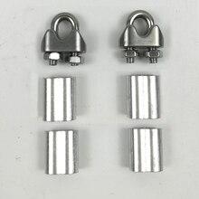 2 шт. u-образные зажимы с винтами+ 4 шт. алюминиевый наконечник для 2 мм 2,5 мм 3 мм 3,5 мм стальной Жесткий гибкий трос