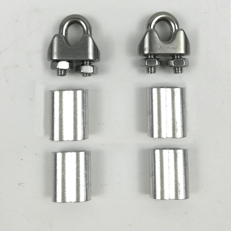 2pcs U Type Clamps With Screws+4pcs Aluminum Ferrule For 2mm 2.5mm 3mm 3.5mm Steel Hard Flexible Wire Rope Cable