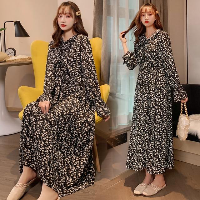 Maternity Plus Size Retro Floral Dress 1