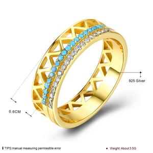 Image 2 - DOM Women Rings 925 Sterling Silver Turquoise Zircon Fashion Gold Finger Rings for Women Wedding Engagement Jewelry Gift SVR224