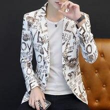 Модный мужской блейзер с надписью на одной пуговице куртка лацканами