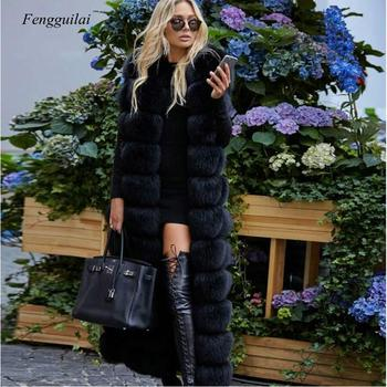New Winter Natural Real Fox Fur Vest Women Luxury Thick Warm Fur Jacket 130cm X-Long Fashion Real Fox Fur Coat image