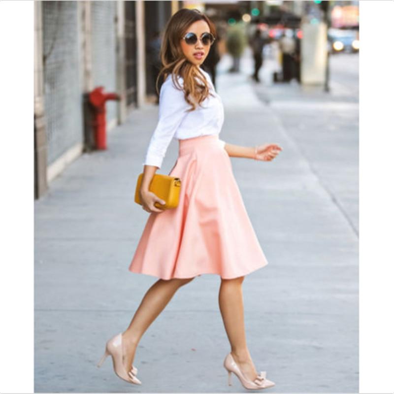 Solid Color Skirts Womens Midi Loose Skirts Pink Skirt Womens 2020 New Spring Summer Korean Style Elastic High Waist Midi Skirts