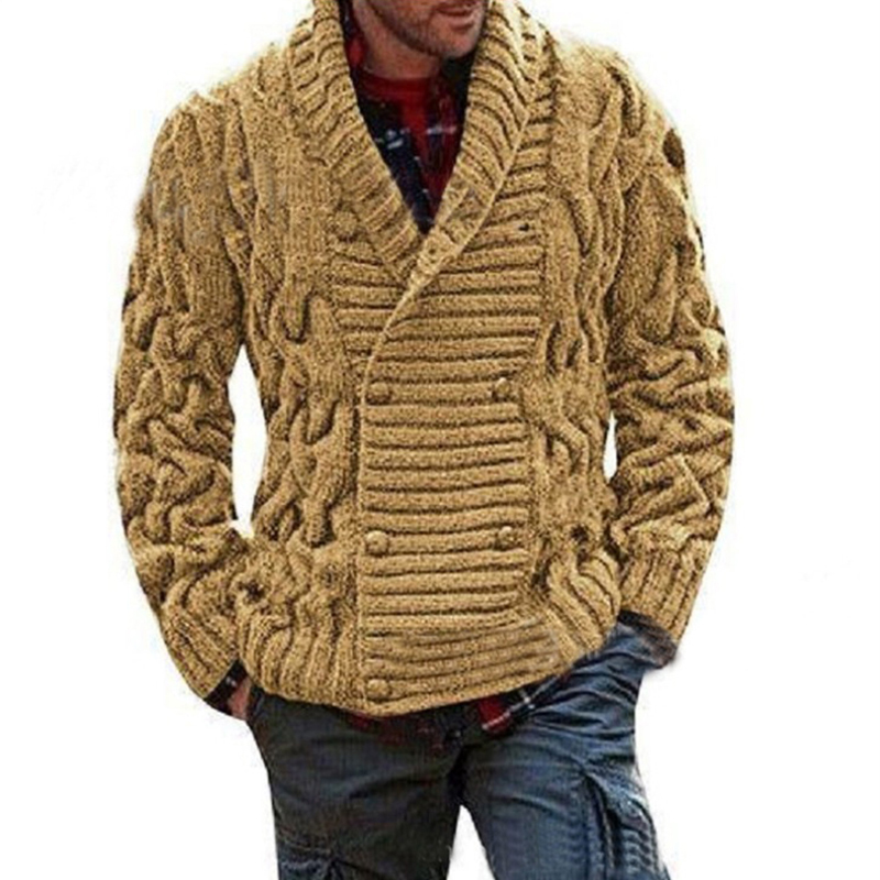 Men's Knitted Coat Classy Brand New Winter Thick Knitwear Pullovers Coat Vintage Sweater  Double Buttons V Neck Coat