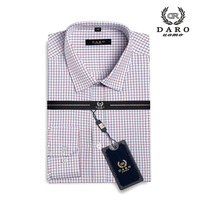 Men's Plaid Checked Oxford Button down Chest Pocket Smart Casual Classic Contrast Standard fit Long Sleeve Dress Shirts DR820
