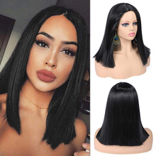 Straight Bob Cut Lace Front Part Wig Double Drawn Silky Straight Short