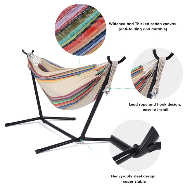 Hammock With Stand Swinging Chair Bed Travel Camping Home Garden Hanging Bed Hunting Sleeping Swing Indoor Outdoor Furniture 3