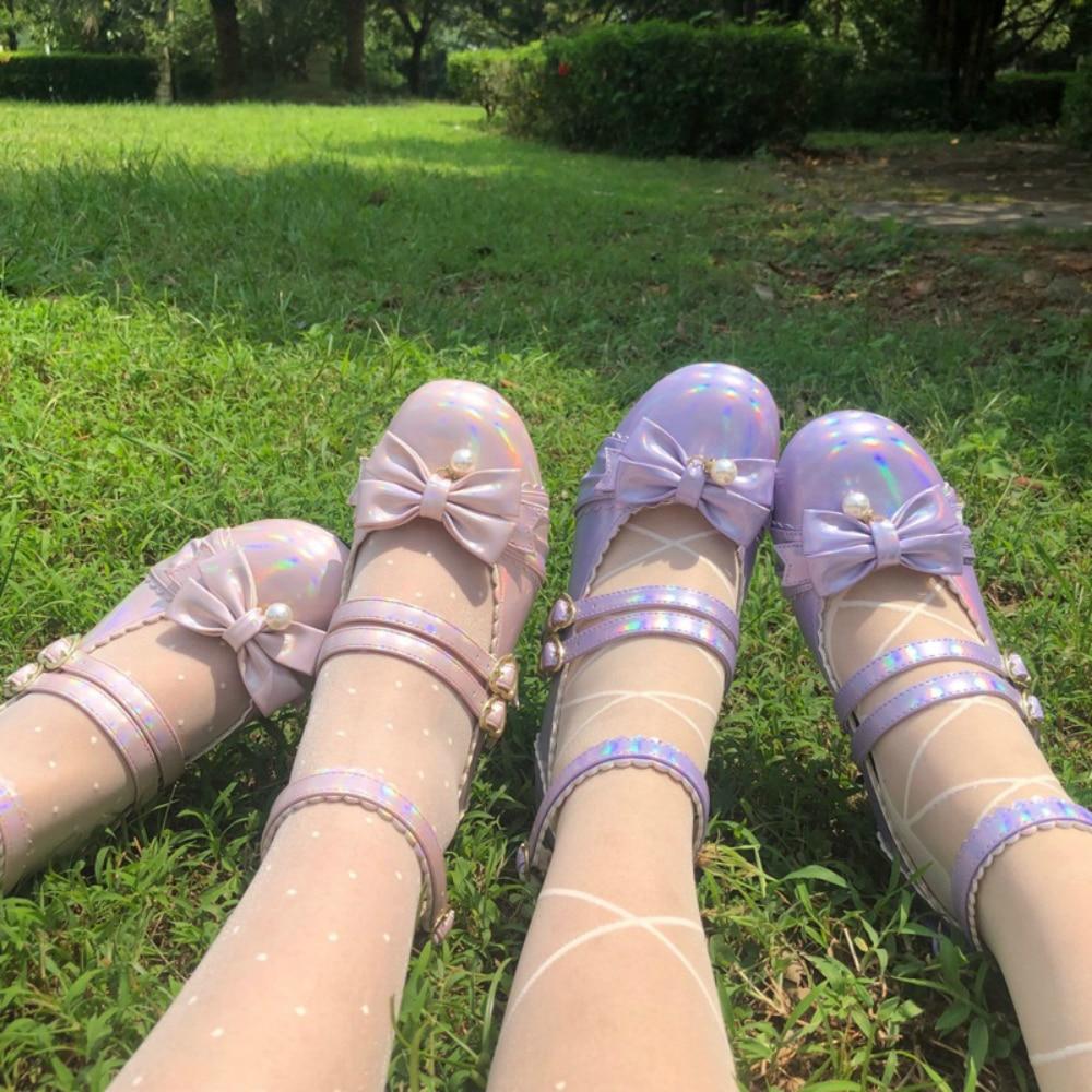 Mid Heel 3.5cm Japanese Lace Round Toe Student Shoes Lolita Women's Shoes Chunky Heel Kawaii Anime Girls Jk Fashion Loli Shoes