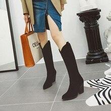 Большой Size9, 10, 11, 12, женские сапоги женские зимние сапоги, женская обувь; botas; Винтаж рукав сапог до середины икры прямой загрузки