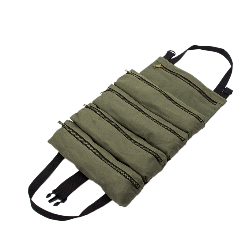 Hot Roll Tool Roll Multi-Purpose Tool Roll Up Bag Wrench Roll Pouch Hanging Tool Zipper Carrier Tote