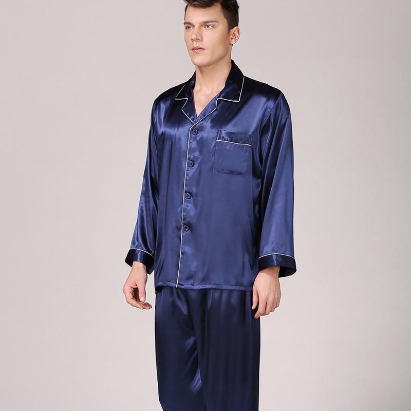 Mens Pajama Set Long Sleeve Solid Color Suit Men's Stain Sleepwear Men Soft Cozy Satin Nightgown Silk Pajamas For Men Nightgown