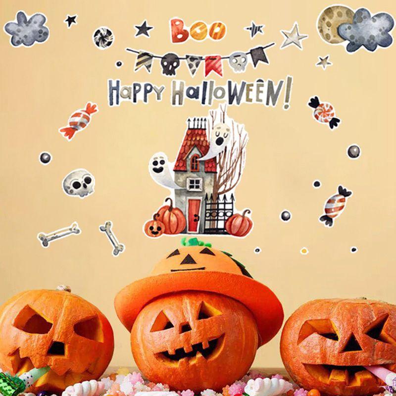 Детские комнаты мультфильм красочные милые настенные наклейки самоклеющиеся ПВХ наклейки для Хэллоуина вечерние украшения для дома для де... - 2