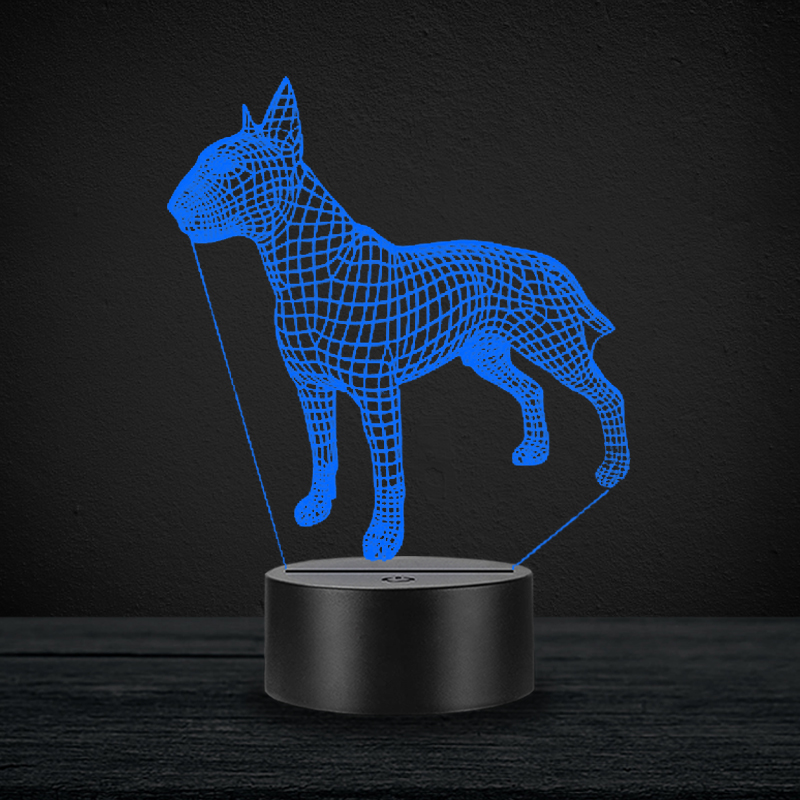 Dog 3D Lamp Illusion Night Light LED Bulb Multicolor Atmosphere American Pit Bull Terrier Christmas Gifts For Children Kid Toy