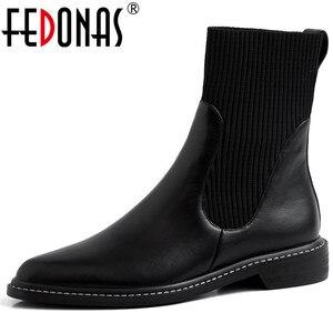 Женские ботинки челси в стиле панк FEDONAS, черные Клубные ботильоны из натуральной кожи, вязаные короткие ботинки на осень и зиму 2019