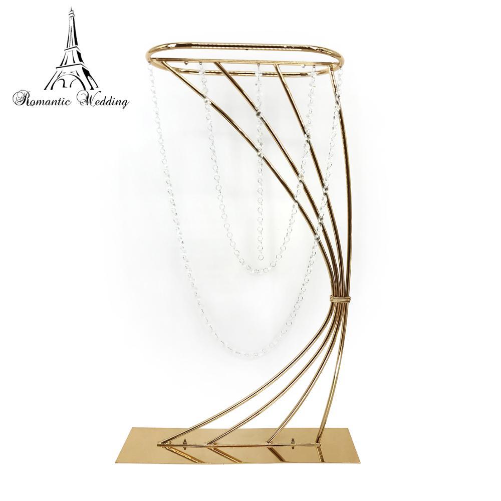 32 Высокая золотая металлическая подставка для цветов для свадебного украшения стола - 5