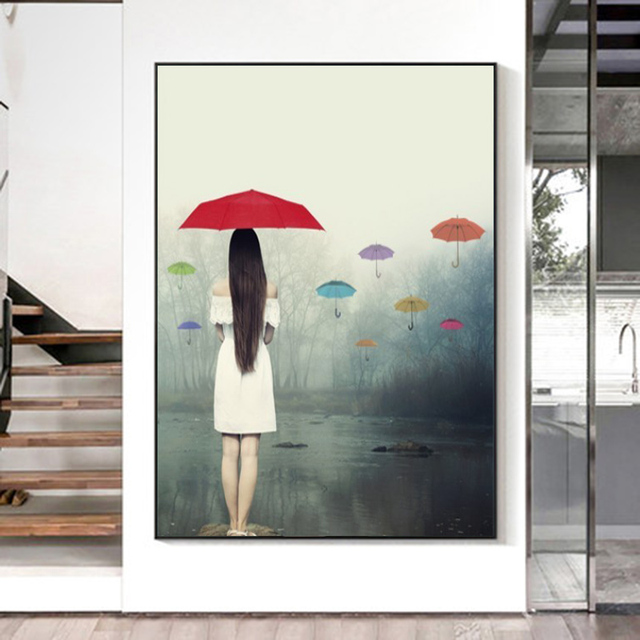 Woman with Umbrella In The Rain Painting Printed on Canvas 1