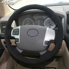 цена на Black Suede Car Steering Wheel Cover for Toyota Land Cruiser 2008-2015 Tundra