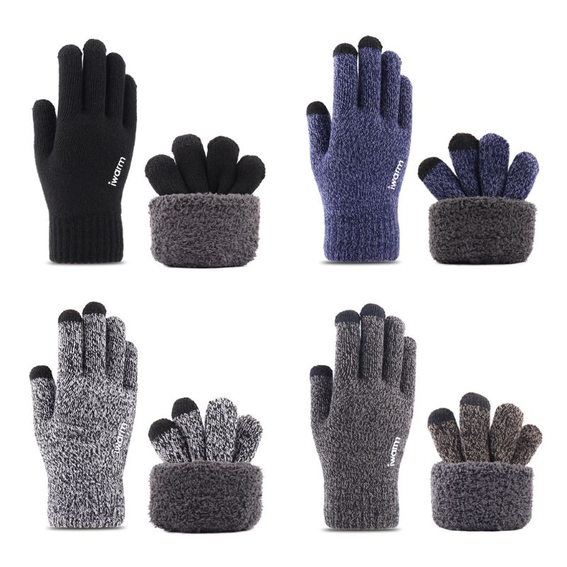 Men Women Winter Knit Ski Gloves Touchscreen Double Layer Thermal Lining Texting Elastic Cuff Non-Slip Silicone Balm Mittens