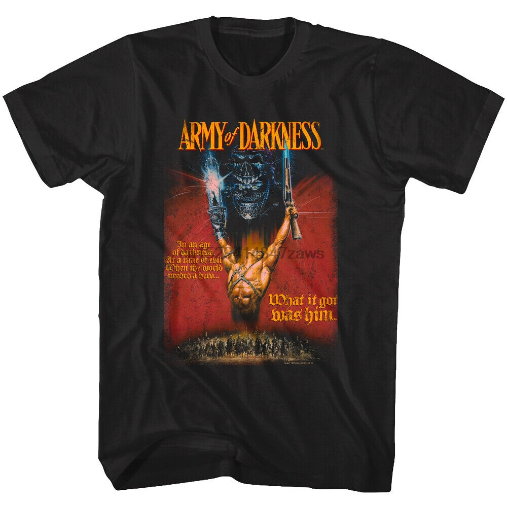 Army of Darkness Movie Poster Mens T Shirt Ash Hero Book of the Dead Merch Raimi(1)