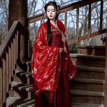 Vestido tradicional chino bordado Hanfu disfraz de dinastía antigua Cosplay mujer etapa Hanfu vestido disfraz de Baile Folclórico DL5344