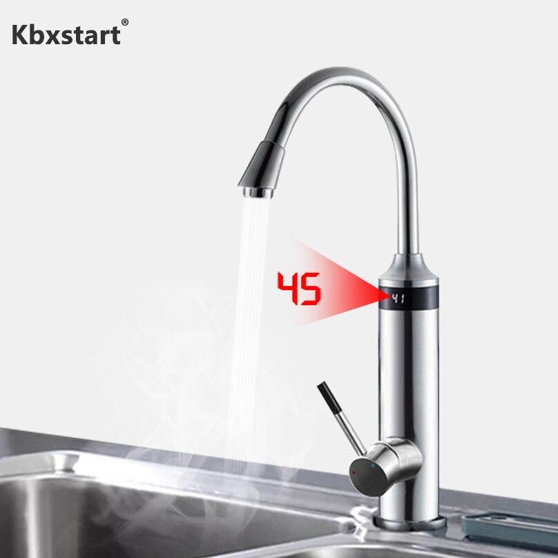 Robinet de chauffe-eau électrique de cuisine instantanée de 220V sous le robinet d'eau chaude d'entrée avec l'affichage numérique de LED et le nouvel élément chauffant
