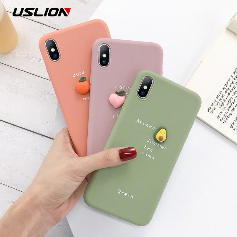 USLION 3D Candy Color Avocado Letter Soft Phone Case For iPhone 11 Pro XS MAX XR X Silicone