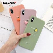 USLION 3D Candy Color Avocado Letter Soft Phone Case For