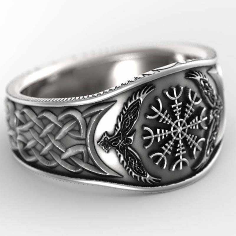 Mitologia vintage história viking celta eagle compass 925 prata preto masculino anéis