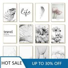 Preto e branco flor arte da parede quadros em tela quadros de penas frescas dandelion fotos estéticas decoração para casa acesso