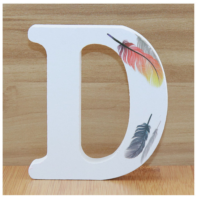 1pc 10cm Wooden Letters Alphabet Name Letter Standing Feather DIY Handmade Design Height Art Crafts Home Decor 3.94 Inches 3