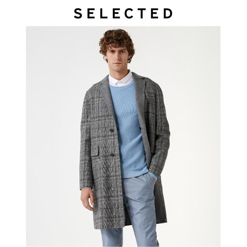 SELECTED Men's Woolen Plaid Mid-length Check Reversible Wool Coat S|419327504