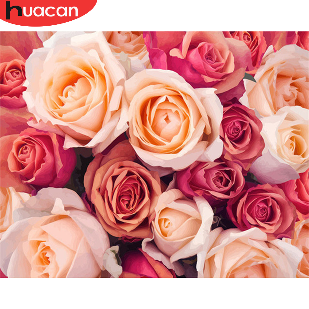 HUACAN Painting By Numbers Flowers Drawing On Canvas HandPainted Rose Picture Kits Art Gift DIY Home Decoration