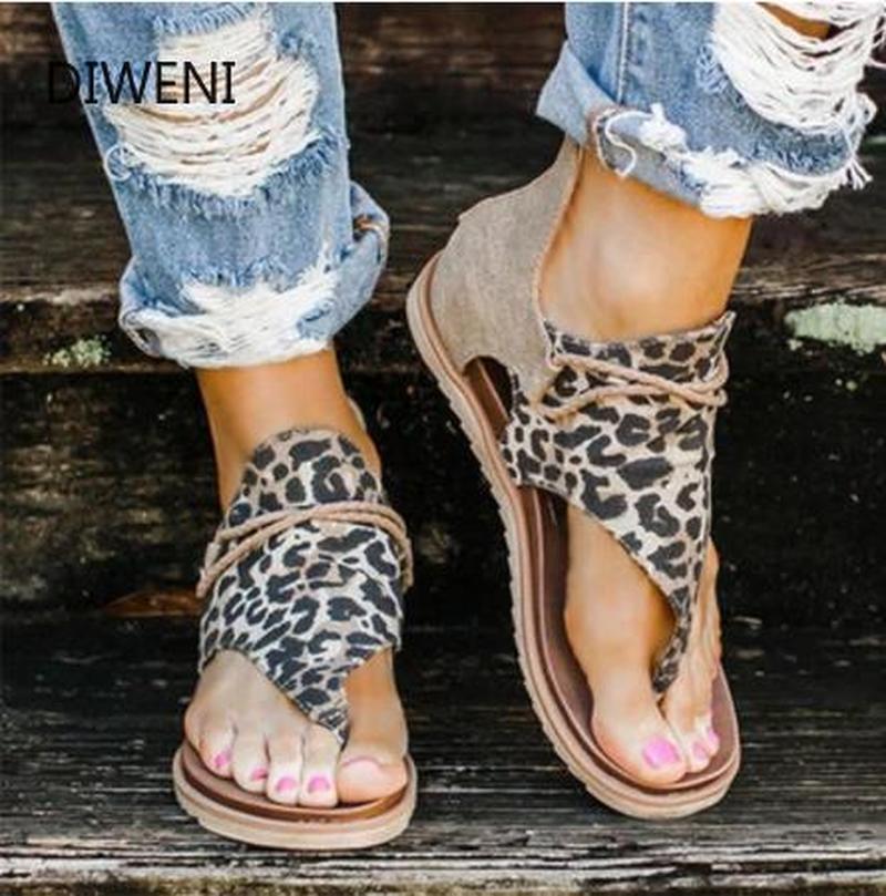 2020 Women Sandals Leopard Print Summer Shoes Women Large Size Andals Flat Women Sandals Womens Summer Mujer Sandalias