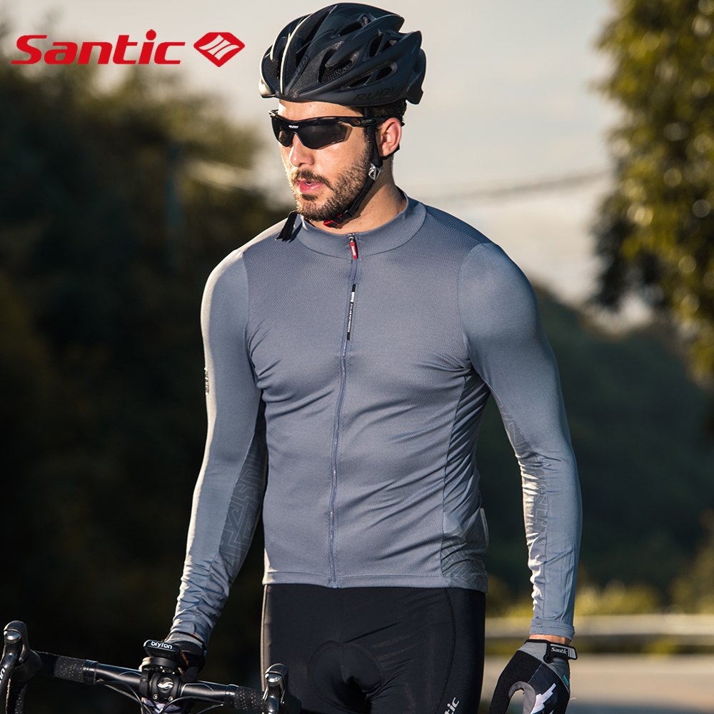 Santic Cycling Jersey Men's Long Sleeve Tops Mountain Bike Shirts Bicycle Jacket with Pockets Outdoor Sports Clothing Asian Size